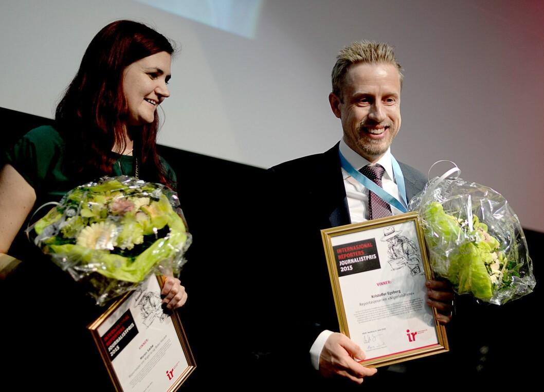 Skal jobbe sammen: Maren Sæbø og Kristoffer Egeberg - her fra da Sæbø vant IR-prisen og Egeberg SKUP-prisen i 2015.