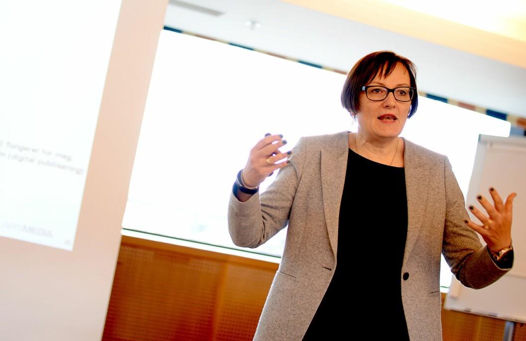 Tove Nedreberg, administrerande direktør i Adresseavisen AS. Her frå LLA sitt landsmøte i Trondheim våren 2015.