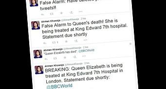 Da BBC «trente» på å rapportere dronningens død, hørte en journalist «nyheten» og tvitret den