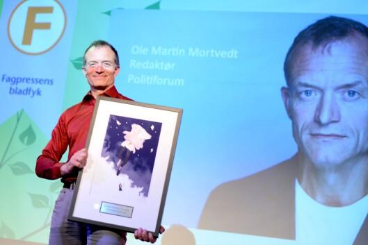 Politiforums redaktør Ole Martin Mortvedt fikk prisen «Årets bladfyk» på Fagpresseprisene i fjor.