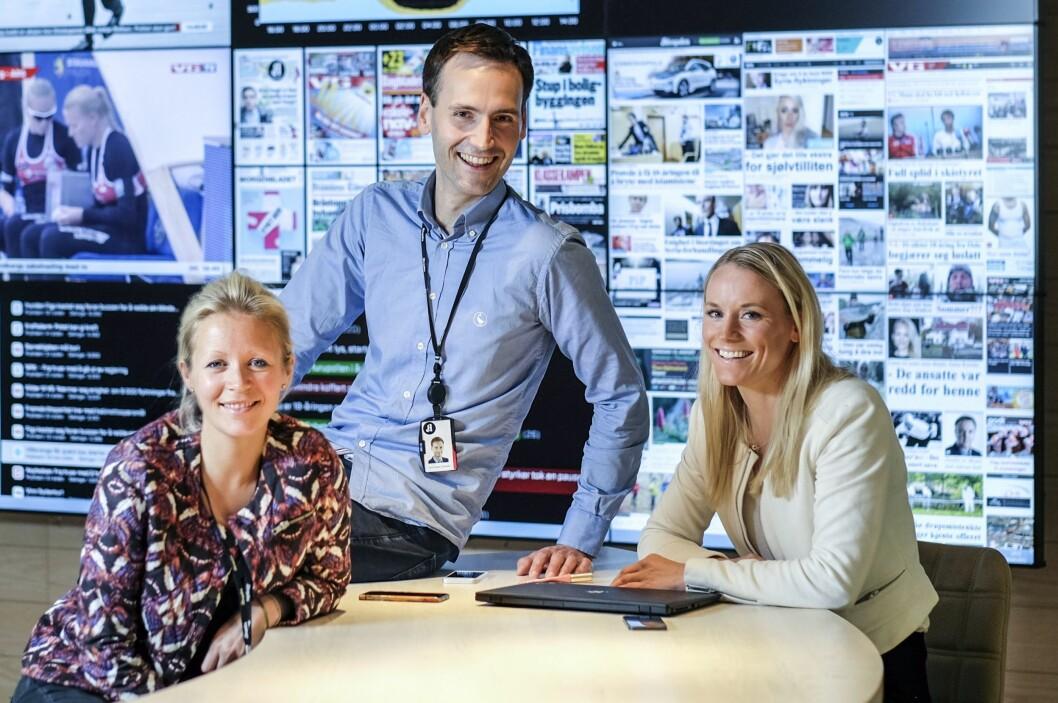 Slik så det ut da Lars Magne Sunnanå for to år siden varslet overgangen til innholdsmarkedsaføring. Her sammen med kollegene Ida Barth Anderssen og Oddrun Cecilie Svegarden.