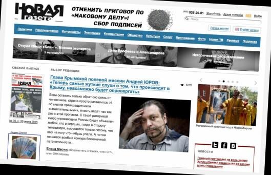 Skjermdump fra Novaja Gazetas utgave på nett.