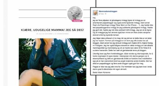 Kjent «mammablogger» beskyldes for plagiat. - Ikke kopi, svarer blogger og PR-rådgiver Karianne Gamkinn