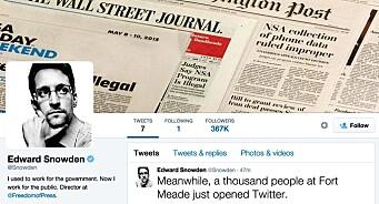 Snowden kom på Twitter og fikk raskt 350.000 følgere. Selv følger han bare NSA