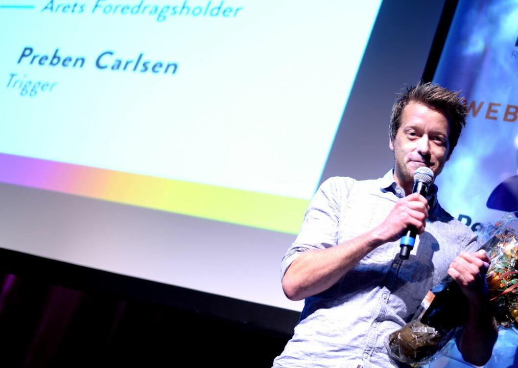 Preben Carlsen, konsernsjef i Trigger. Bildet er fra da ANFO kåret han til Årets foredragsholder i 2015.