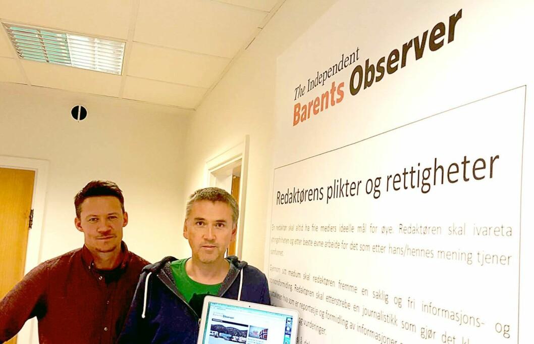 Barents Observer - her ved redaktør Thomas Nilsen (t.h.) og daglig leder Atle Staalesen.