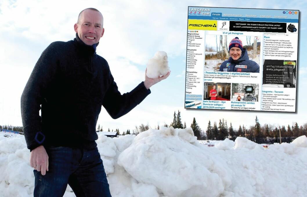 GEIR NILSEN, redaktør og eier av Langrenn.com (innfelt). Her på Beitostølen før sesongstart høsten 2015.