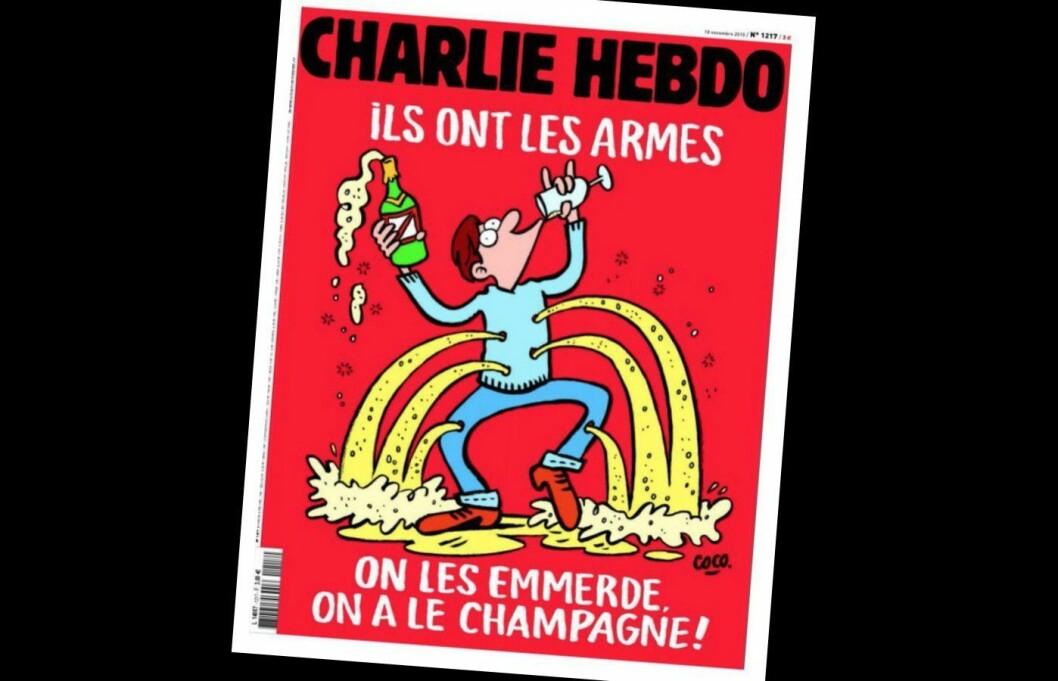 (Faksimile av  en tidligere forside på Charlie Hebdo).