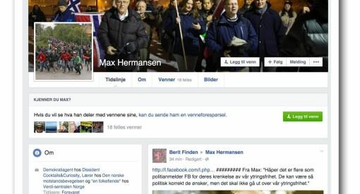 Max Hermansen ble blokkert av Facebook. Nå anmelder han giganten for «brudd på ytringsfriheten»