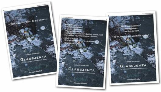 Stavanger Aftenblads egenomtale av den omfattende reportasjen «Glassjenta».