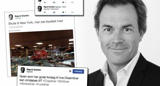 PR-rådgiver Sigurd Grytten døpte om Norwegians «Dreamliner» til #crapliner #shitliner #fuckliner