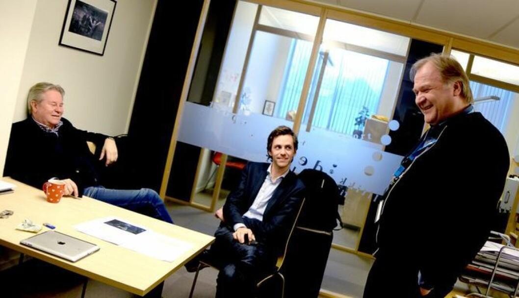 Arve Løberg (til venstre) går av som administrerende direktør for Trønder-Avisa. I midten: Utviklingsredaktør Fredrik Mandal og til venstre utviklingsdirektør Bjørnar Tromsdal. Bildet er fra 2016.