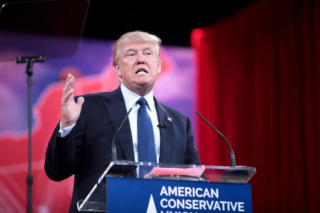 Donald Trump på et amerikansk valgmøte i fjor høst.