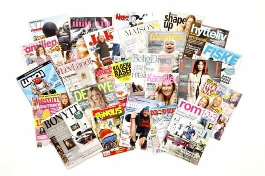 Noen av Egmonts ukeblad og magasiner.