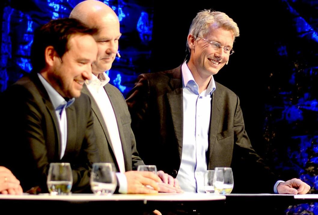 Godt humør på TV-toppmøtet i Bergen for noen år siden, men hvordan går det med de kommersielle kanalenes inntekter framover? Fra venstre: MTG TV-sjef Morten Micalsen, kringkastingssjef Thor Gjermund Eriksen og TV 2-sjef Olav Sandnes.