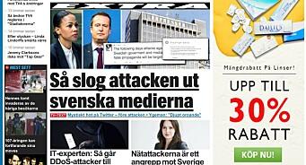 Sveriges største aviser slått ut av hackerangrep i flere timer lørdag kveld. Skal ha kommet via Russland