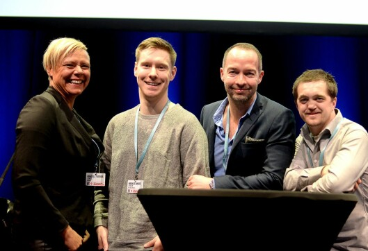 Våren 2016 møtte Medier24 denne gjengen på SKUP-konferansen. Fra venstre: Mariell Tverrå Løkås, Markus André Jensen, Geir Are Jensen og Preben Hunstad.