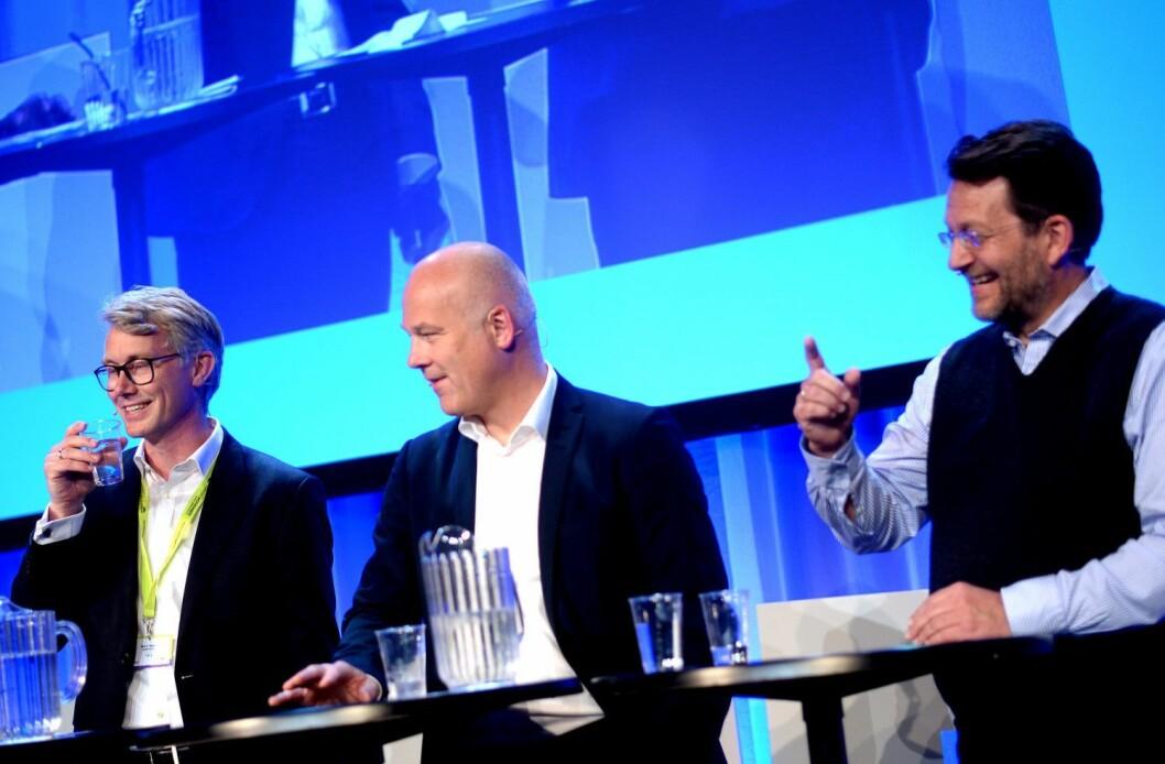 Kringkastingssjef Thor Gjermund Eriksen (i midten), her under TV-toppmøtet på Nordiske Mediedager våren 2016. Flankert av TV 2-sjef Olav Sandnes og Discovery-sjef Harald Strømme.