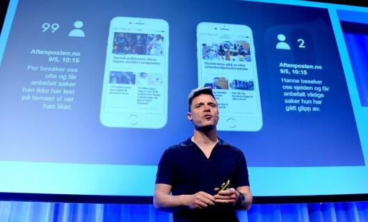 ESPEN EGIL HANSEN, sjefredaktør i Aftenposten, kan juble for solid digital vekst. Her under Nordiske Mediedager våren 2016.