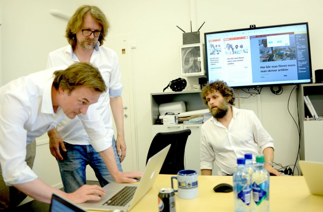 Fra venstre: SOL-sjef og Aller-redaktør Jan Thoresen, administrerende direktør Jon Reidar Hammerfjeld og Tor-Kristian Flage. Bildet er fra våren 2016.