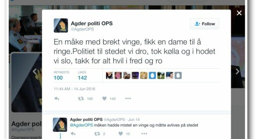 Nå blir det slutt på at Agder-politiet skal tulle og rime på Twitter