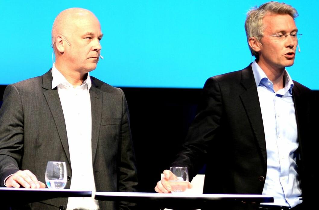 Kringkastingssjef Thor Gjermund Eriksen og sjefredaktør og adm. dir Olav T. Sandnes i TV 2. Her fra en tidligere debatt.