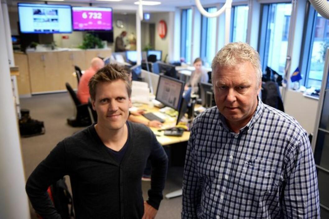 Nyhetsredaktør Morten Ulekleiv og sjefredaktør Hans-Petter Kjøge i Halden Arbeiderblad.