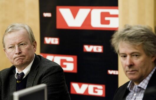Torry Pedersen (t.h.) og Bernt Olufsen i 2011 - da førstnevnte overtok stafettpinnen som sjefredaktør og direktør i VG. 6 år senere overtok Gard Steiro.