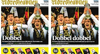 Slik feirer Adresseavisen at Rosenborg tar dobbeltriumf: Slår til med to førstesider og gullskrift