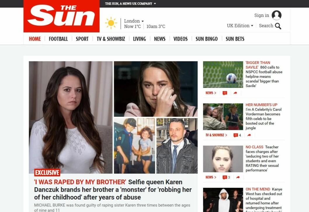 Faksimile fra The Sun sine nettsider. (Faksimile)