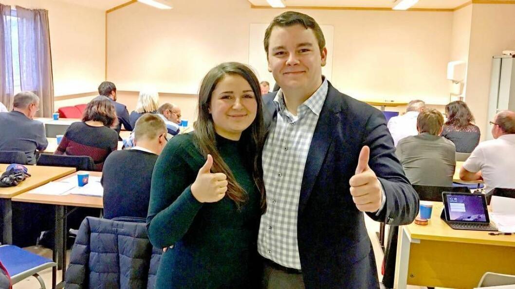 Espen Teigen fra Stjørdal står øverst på Frp-listen foran stortingsvalget neste høst. Astrid Nordahl, også fra Stjørdal - og Espens samboer, står på sjetteplass. .
