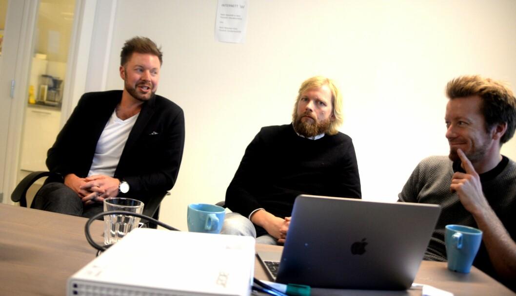VIL BYGGE VIDERE: Filter Media sier de vil bygge Norges neste nyhetsnettsted. Fra venstre: Styreleder og investor Even Aas-Eng, publisher Lars Eide og investor Preben Carlsen.