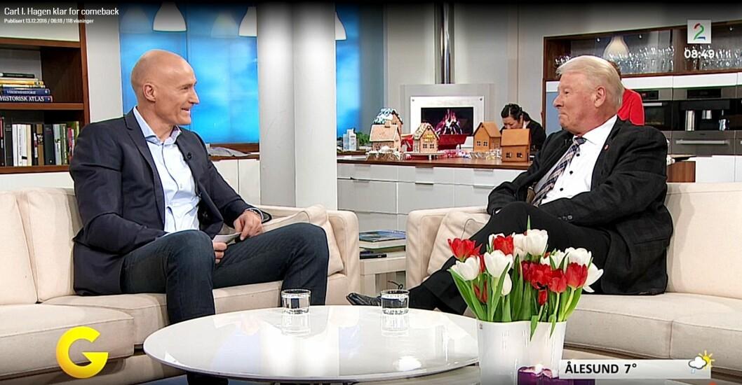 Programleder Erik Thorstvedt intervjuer Carl I Hagen.