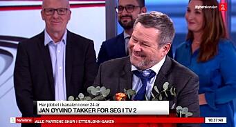 Jan Øyvind Helgesen (67) gir seg etter 24 år i TV 2. Midt i siste sending ble han lurt på direkten - se klippet her
