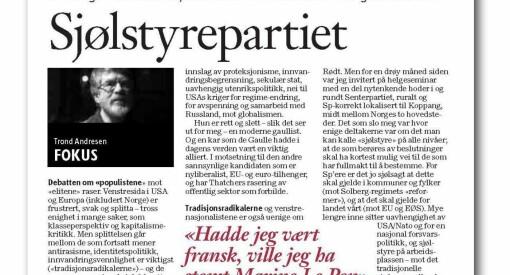 Da Trond Andresen skrev om sin støtte til Marine Le Pen, ble det for mye for Klassekampen og Bjørgulv Braanen