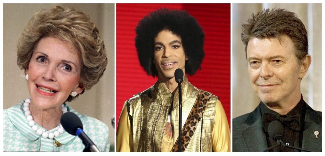 Hva har Nancy Reagan, Prince og David Bowie til felles? De døde alle i de første månedene av 2016, da det i følge BBC var høyere kjendisdødelighet enn i de fire foregående årene.