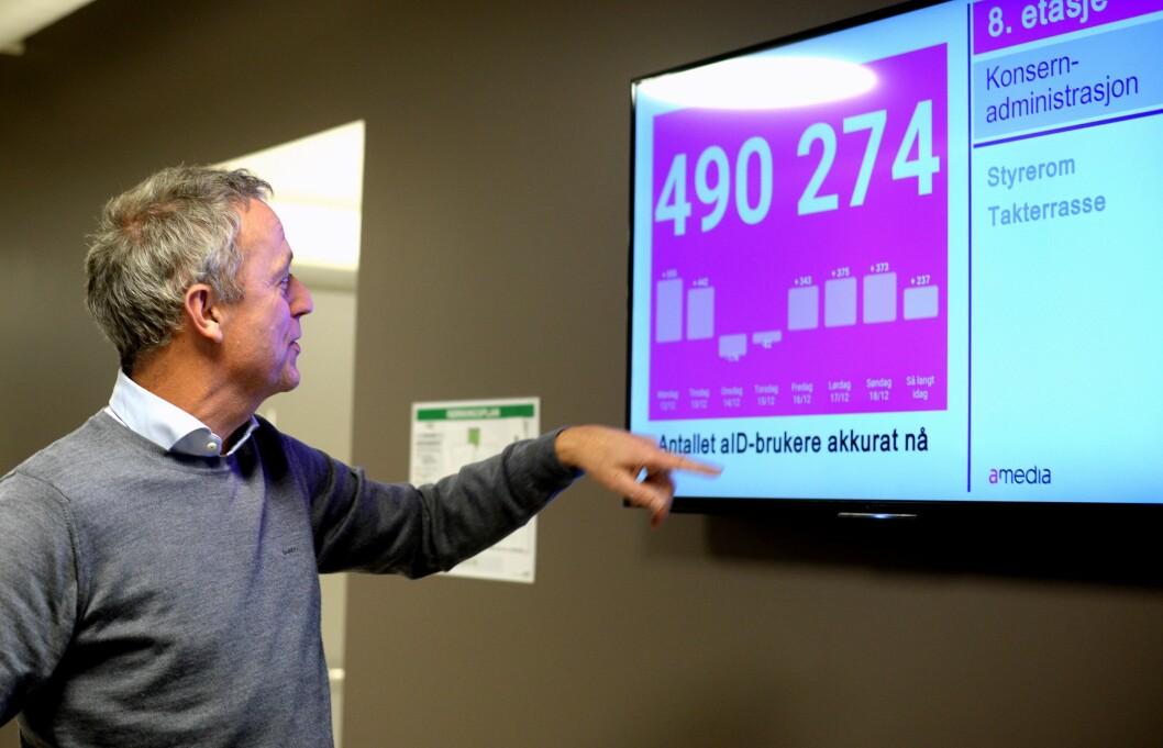 - Den er ikke helt oppdatert, sier en nesten fornøyd Are Stokstad og ser på telleren over registrerte aID-brukere.