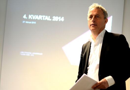 SMILTE IKKE LIKE BREDT: Konsernsjef Stokstad på resultatpresentasjon for 4. kvartal 2014.