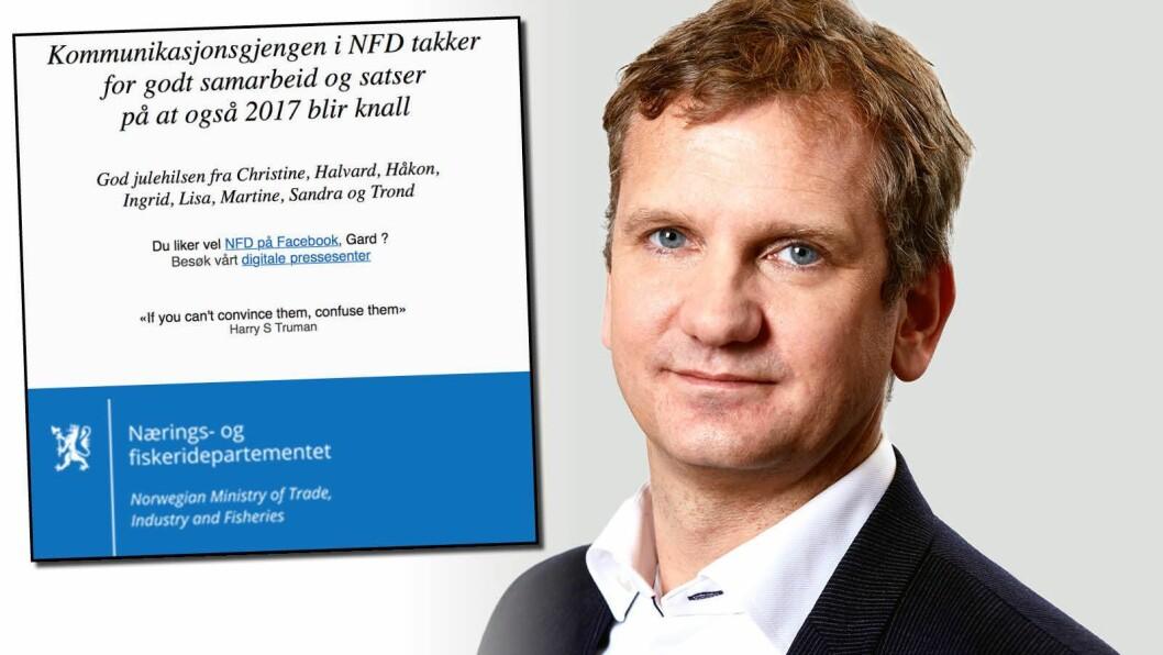 Kommunikasjonssjef Trond Viken i Nærings- og fiskeridepartementet forsikrer at siste setning i julekortet var spøkefullt ment.