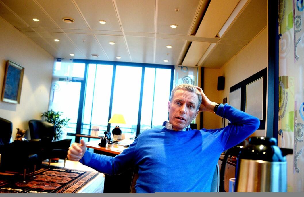 Schibsted-sjef Rolv Erik Ryssdal på kontoret i 9. etasje.