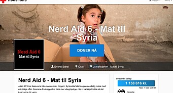 Medier24 har nå gitt vårt lille bidrag til #NerdAid. Aksjonen har så langt gitt over 1 million kroner til Syria