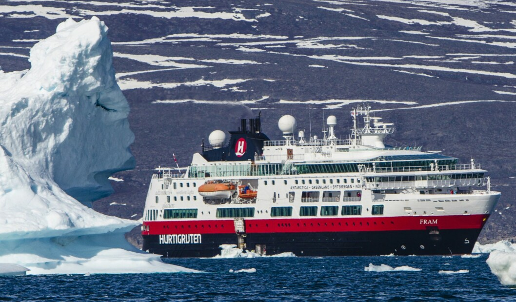 MS Fram på tur rundt Grønland i 2015. Slike bilder får vi se på skjermen torsdag kveld.