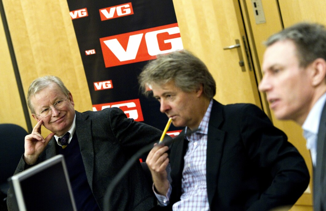 2011: Torry Pedersen overtar som ansvarlig redaktør og direktør i VG. Her flankert av avtroppende sjefredaktør Bernt Olufsen, og konsernsjef Rolv Erik Ryssdal.