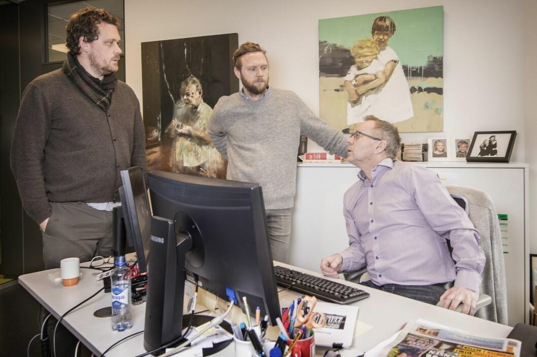 Sjefredaktør i Dagbladet, John Arne Markussen (t.h.), politisk redaktør Geir Ramnefjell og Anders Holth Johansen - her i forbindelse med de nye debattsidene.
