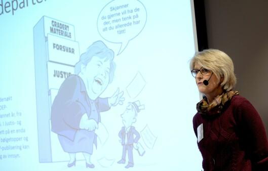 Siri Gedde-Dahl, leder av Offentlighetsutvalget, la fram den omfattende rapporten i januar.