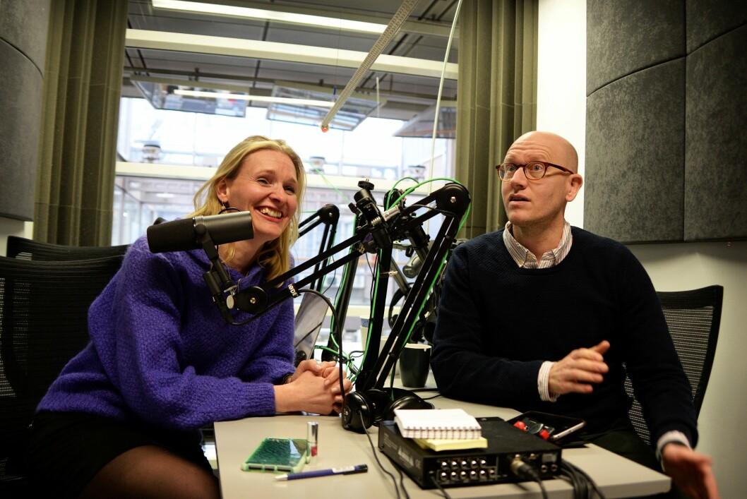 Podkastsjef Kristine Hellesland og digitalredaktør Ola Stenberg i VG.