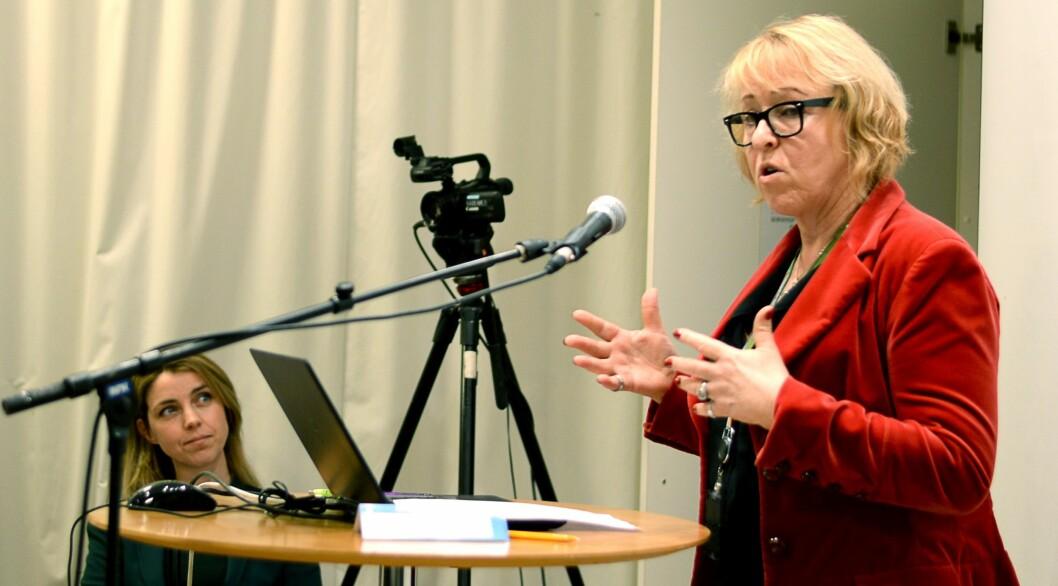 Nyhetsdirektør Alexandra Beverfjord og distriktsdirektør Grethe Gynnild-Johnsen - her fra et møte i Kringkastingsrådet, januar 2017.