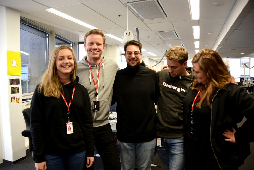 Snapteam: Randi Elise Midtskog, Mathias Jørgensen, Kristoffer Kumar, Ole N. Olsen og Camilla Brække. Stian Bråthen var ikke tilstede da bildet ble tatt.