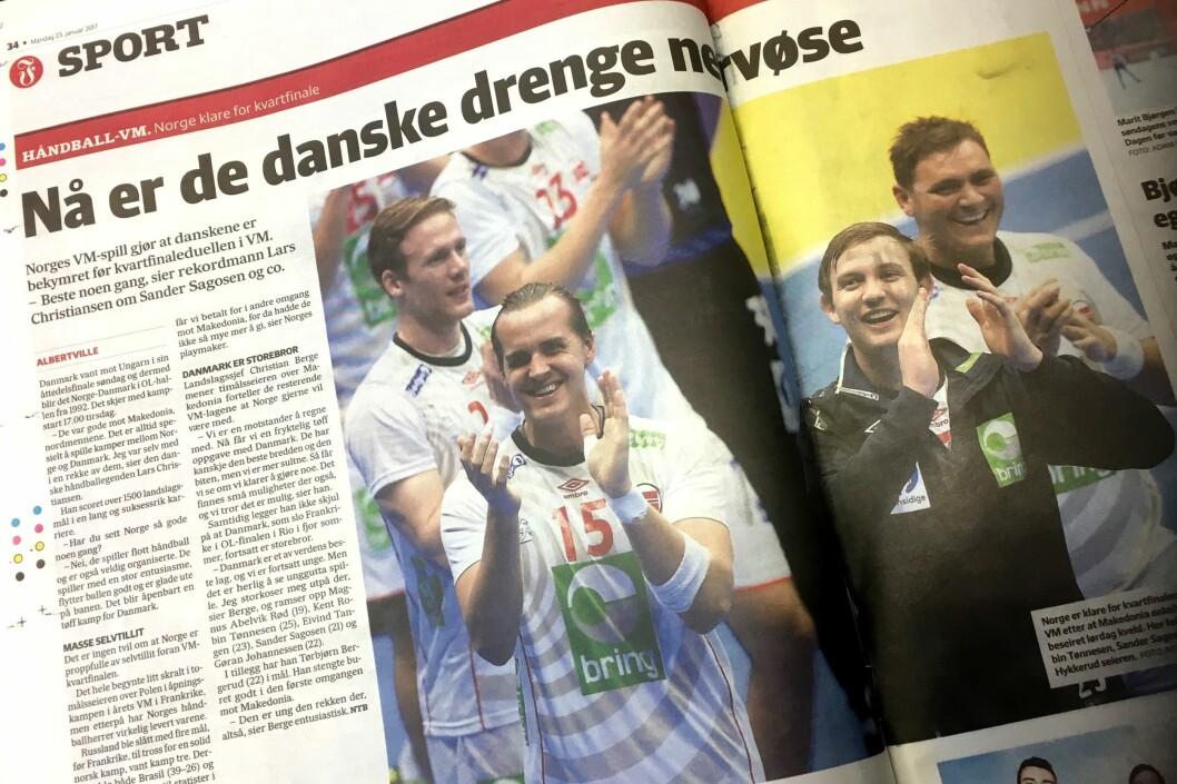 Slik så mandagens papiravis ut - med nyheten om at Danmarks håndballherrer skulle være nervøse i forkant av kvartfinalen mot Norge.