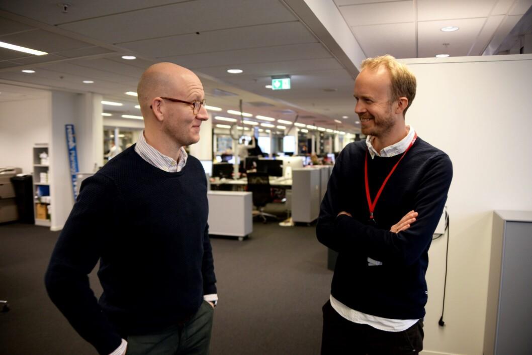 Digitalredaktør Ola Stenberg i VG og strategidirektør Thomas Manus Hønningstad i VGTV.